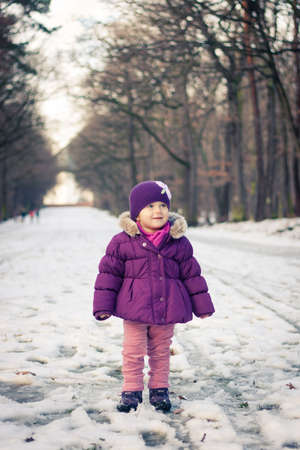 Close-up portrait of a little girl outdoors on a winter day Stock Photo - 16987174