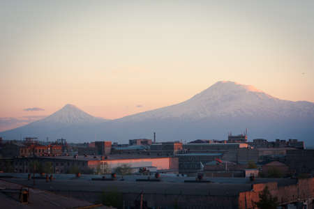 aras: A Yerevan view of Mount Ararat at sunset