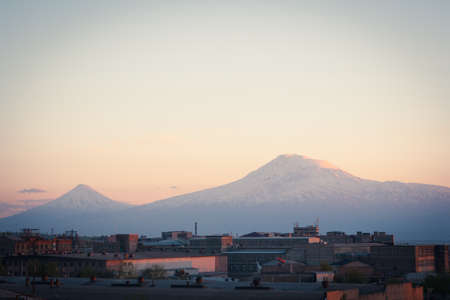 armenia: A Yerevan view of Mount Ararat at sunset