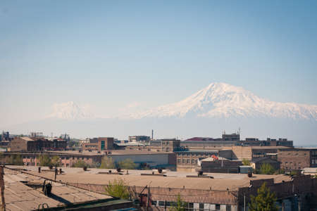 aras: A Yerevan view of Mount Ararat on a sunny morning