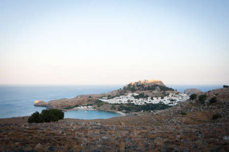 A view of Lindos bay at sunset, Rhodes, Greece photo
