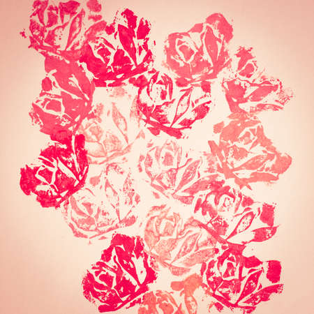 Floral (rose) hand-made printed backgrounddecoration photo