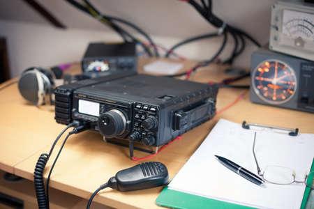 Amateur radio station: closeup of an a radio transciever