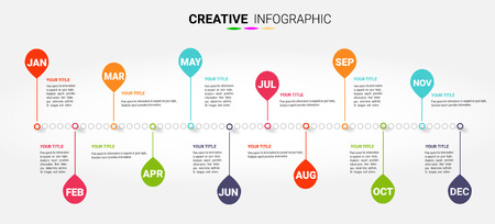 Timeline for 12 months, 1 year, Timeline infographics design vector and Presentation business can be used for Business concept with 12 options, steps or processes.