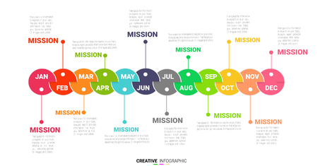 Timeline presentation for 12 months, 1 year, Timeline info-graphics design vector and -presentation business. Can be used for business concept with 12 options, steps or processes.