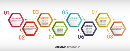 Timeline Info-graphics Template, Vector info-graphics timeline design template with 8 label. Can be used for workflow layout, diagram, number step up options. Illusztráció