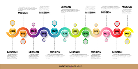 Timeline 12 month , 1 year, colorful. Infographic template.