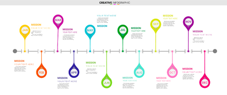 Timeline infographics design vector and Presentation business can be used for Business concept with 12 months.