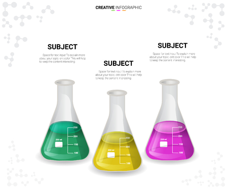 Chemistry flask infographic illustration. chemistry in Tube experiments, test tube. Abstract infographics. can be used for infographics, Vector Illustration, Creative concept for infographic.