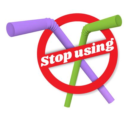 Vector illustration sign of the refusal of disposable plastic straws isolated on white background Vektoros illusztráció
