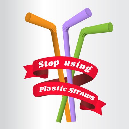 Smettere di usare cannucce di plastica, fermare l'inquinamento da plastica, ridurre il rifiuto delle cannucce di plastica usa e getta, illustrazione vettoriale Vettoriali