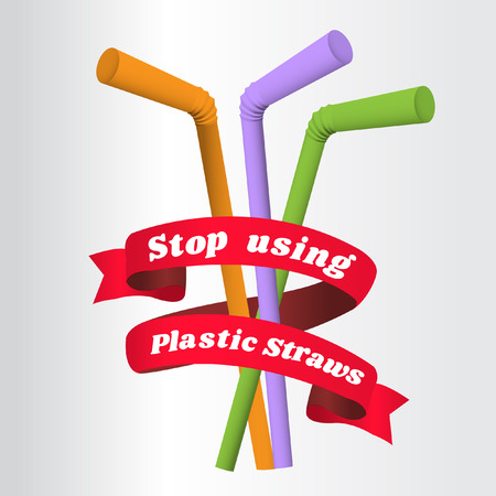 Stop using Plastic straws, Stop plastic pollution-Reduce, the refusal of disposable plastic drinking straws, vector illustration. Vettoriali