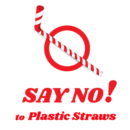 Say no to plastic straws. Red text, calligraphy, lettering, doodle by hand isolated on white. Eco, ecology. Stop using plastic straws concept. Save the earth and good environment concept. Illustration