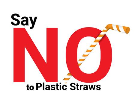 dire niente cannucce di plastica concetto. Salvare la terra e il buon concetto di ambiente. Stop all'inquinamento da plastica: riduci, riutilizza, ricicla: dì no alle cannucce di plastica Vettoriali
