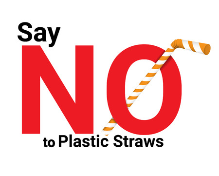 say no plastic straws concept. Save the earth and good environment concept. Stop plastic pollution-Reduce, Reuse, Recycle-Say no to plastic straws Ilustração