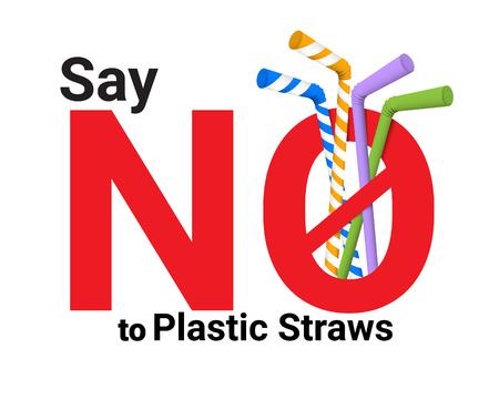 Non dire cannucce di plastica usa e getta a favore di cannucce metalliche riutilizzabili. Di 'no alle cannucce di plastica. Testo rosso, calligrafia.