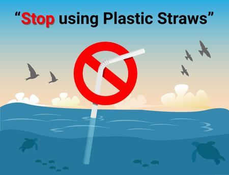 Stop met het gebruik van plastic rietjes, stop met plastic vervuiling op zee, de weigering van wegwerp plastic rietjes, vector illustratie.