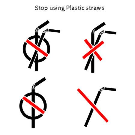 Ferma le cannucce di plastica.