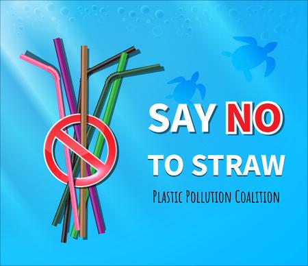 Di no a las pajitas de plástico. Detener la contaminación plástica en el mar. Ilustración de vector