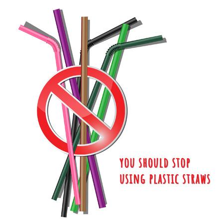 you should stop using plastic straws Vektoros illusztráció