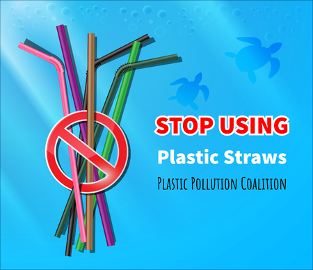 Przestań używać plastikowych słomek Ilustracje wektorowe