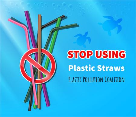 Smetti di usare cannucce di plastica Vettoriali