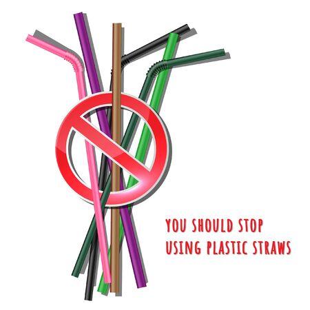 Stop using Plastic straws, Stop plastic pollution-Reduce, the refusal of disposable plastic drinking straws, vector illustration.