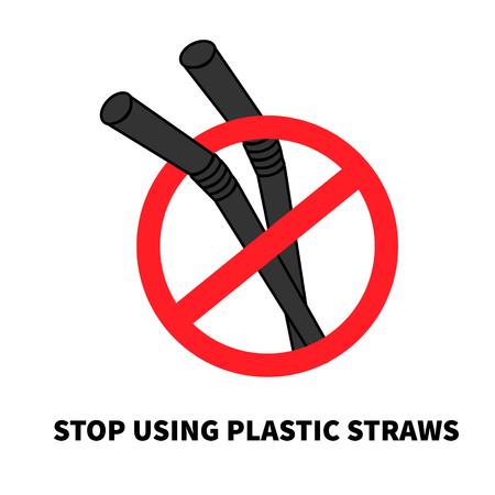Stop using Plastic straws, Stop plastic pollution, the refusal of disposable plastic drinking straws, vector illustration.