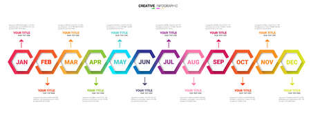 Year planer, 12 months, 1 year, Timeline infographics design.