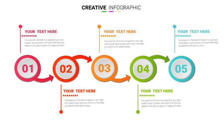 Infographic design template with numbers 5 option.
