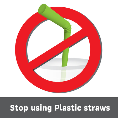 Stop using Plastic straws, Stop plastic pollution on sea, the refusal of disposable plastic drinking straws, vector illustration. Ilustração