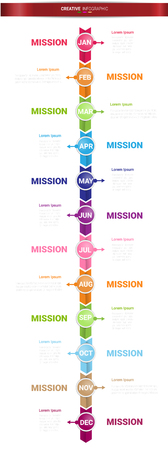 Time line for 1 year, 12 months, Timeline infographics design vector 12 steps Illustration