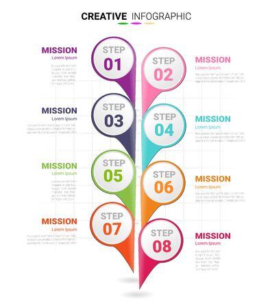 Modèle de conception d'infographie avec option de numéros 8 pour l'infographie de présentation, l'infographie de la chronologie, les étapes ou les processus. Illustration vectorielle. Vecteurs