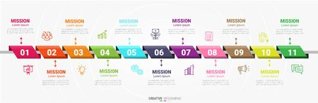 Infographic design template with numbers 11 option for Presentation infographic, Timeline infographics, steps or processes. Vector illustration. Illustration