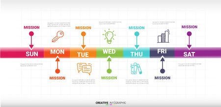 weekly planner, Timeline business for 7 day, Presentation business can be used for Business concept with 7 options, steps or processes. Illustration