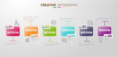 Infographic template with numbers 6 option can be used for workflow layout, diagram, number step up options. Vector Illustration