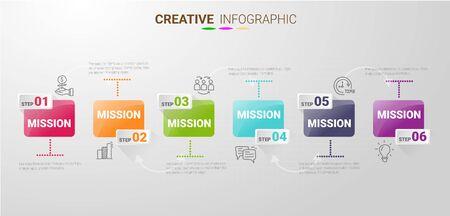 Le modèle d'infographie avec l'option numéros 6 peut être utilisé pour la mise en page du flux de travail, le diagramme, les options d'augmentation du nombre. Vecteurs