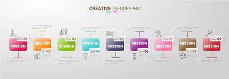 Infographic design template with 9 options, Can be used for process diagram, presentations, workflow layout, banner, flow chart, info graph. Ilustração