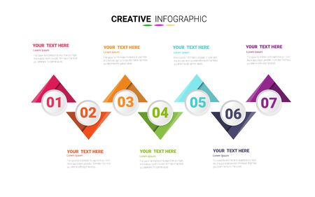 7 options, Timeline infographics design vector and Presentation business can be used for Business concept with 7steps or processes. Çizim