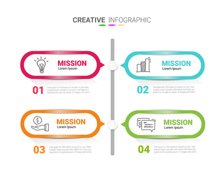 Timeline Infographics Template, Vector infographics timeline design template with 4 label, Vector. can be used for workflow layout, diagram, number step up options. Vector Illustration