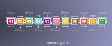 Infographic design template with numbers 11 option for Presentation infographic, Timeline infographics, steps or processes. Vector illustration. Ilustração