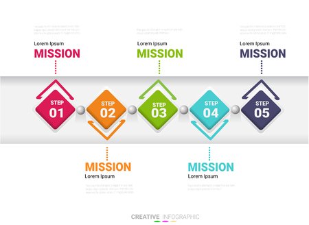 Infographic design template with numbers 5 option for Presentation infographic, Timeline infographics, steps or processes.  Vector illustration.