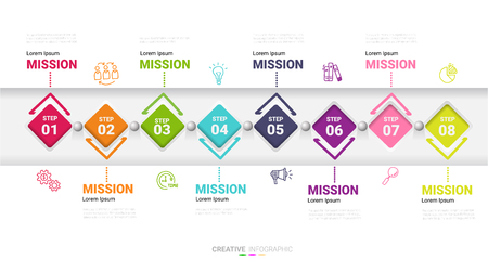 Infographic design template with numbers 8 option for Presentation infographic, Timeline infographics, steps or processes. Vector illustration. Ilustração
