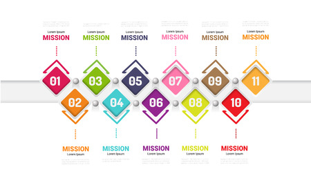 Abstract infographics number options template with steps, with 11 label.