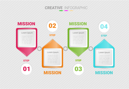 Abstract infographics number options template with steps, with 4 label. Can be used for workflow layout, diagram, business step options, banner, web design. Vector eps 10