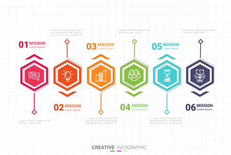 Infographic design template with numbers six option for Presentation infographic, Timeline infographics, steps or processes.  Vector illustration.