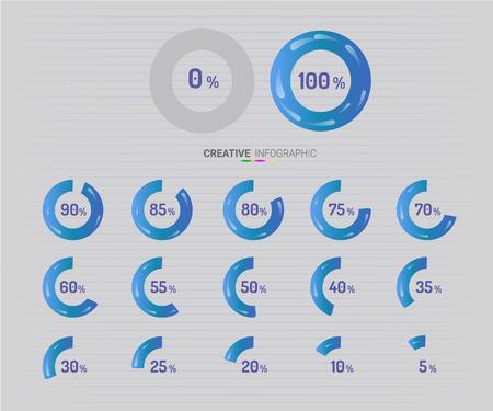 Set of circle percentage diagrams for infographics. Ilustração