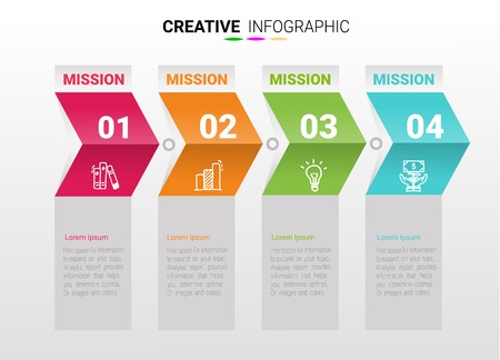 Abstract infographics number options template with steps, with 4 label. Ilustração