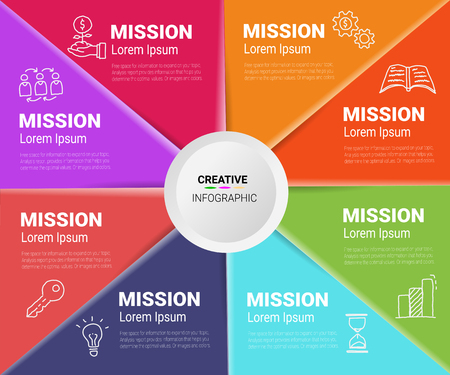 Presentation infographic gram, graph, presentation and round chart. Business concept with 8 options.