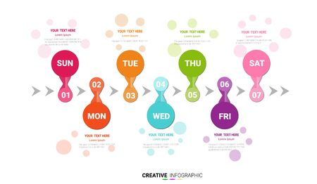 Time line, Timeline business for 7 day, week, Timeline infographics design vector and Presentation business can be used for Business concept with 7 options, steps or processes. Çizim
